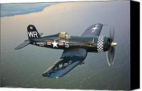 Vintage Canvas Prints - A Vought F4u-5 Corsair In Flight Canvas Print by Scott Germain