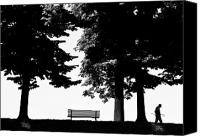 Park Benches Digital Art Canvas Prints - A Walk In The Park Canvas Print by Artecco Fine Art Photography - Photograph by Nadja Drieling