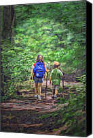 Terry Digital Art Canvas Prints - A walk in the woods Canvas Print by Terry Sita