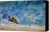 Estephy Sabin Figueroa Painting Canvas Prints - A Walk on the Beach Canvas Print by Estephy Sabin Figueroa
