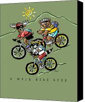 Raccoon Drawings Canvas Prints - A Wild Bike Ride Canvas Print by Renee Womack