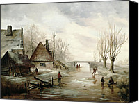 Ice Figures Canvas Prints - A Winter Landscape with Figures Skating Canvas Print by Dutch School
