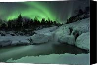 Polar Aurora Canvas Prints - A Wintery Waterfall And Aurora Borealis Canvas Print by Arild Heitmann