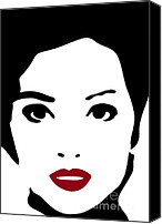 Woman Drawings Canvas Prints - A woman in fashion Canvas Print by Frank Tschakert