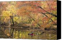 Cabin Canvas Prints - A Woman Kayaking Down The Chesapeake Canvas Print by Skip Brown