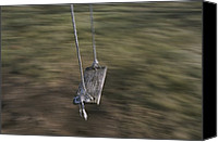 Playground Equipment Canvas Prints - A Wooden Swing Waits For A Rider Canvas Print by Roy Gumpel