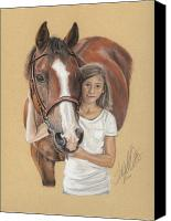 Equestrian Pastels Canvas Prints - A young Girl and her Horse Canvas Print by Terry Kirkland Cook