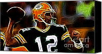 Football Canvas Prints - Aaron Rodgers - Green Bay Packers Canvas Print by Paul Ward