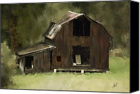 Corel Painter Canvas Prints - Abandoned Barn Canvas Print by Dale Stillman