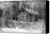 Log Cabins Canvas Prints - Abandoned Barn Standing In Snow Canvas Print by C Wayne Hennebert
