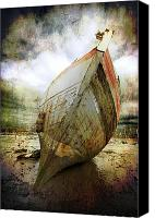 Rope Canvas Prints - Abandoned Fishing Boat Canvas Print by Meirion Matthias