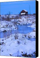 Dilapidated House Canvas Prints - Abandoned Shack Near Frozen Creek In Canvas Print by Corey Hochachka