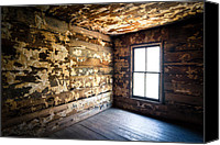 Creepy Canvas Prints - Abandoned Smoky Mountains Farm House - The Window Canvas Print by Dave Allen