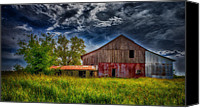 Barn Digital Art Canvas Prints - Abandoned Through The Reeds Canvas Print by Bill Tiepelman