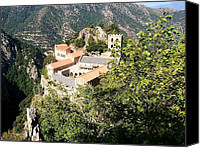 Mountain View Canvas Prints - Abbey St Martin du Canigou France Canvas Print by Marilyn Dunlap