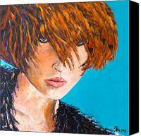 Hairstyle Painting Canvas Prints - Abby Canvas Print by Richard T Pranke