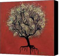 Drips Mixed Media Canvas Prints - ABC Tree Canvas Print by Kelly Jade King