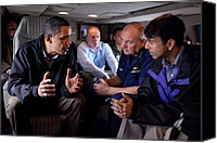 Meetings Canvas Prints - Aboard Marine One President Obama Meets Canvas Print by Everett