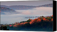 Vermont Autumn Foliage Canvas Prints - Above the Clouds - Vermonts Green Mountains Canvas Print by Thomas Schoeller