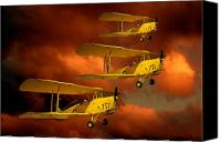 Bi Planes Canvas Prints - Above the red Skys Canvas Print by Steven Agius