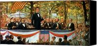 Politician Canvas Prints - Abraham Lincoln and Stephen A Douglas debating at Charleston Canvas Print by Robert Marshall Root
