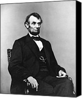 Abraham Lincoln Photo Canvas Prints - Abraham Lincoln portrait - used for the five dollar bill - c 1864 Canvas Print by International  Images