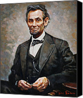 President Painting Canvas Prints - Abraham Lincoln Canvas Print by Ylli Haruni