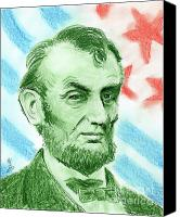 Leader Drawings Canvas Prints - Abraham Lincoln  Canvas Print by Yoshiko Mishina