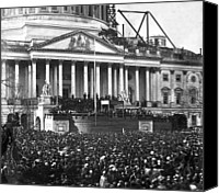 Crowd Scene Canvas Prints - Abraham Lincolns first inauguration - March 4 1861 Canvas Print by International  Images