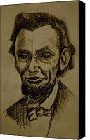 Abe Lincoln Drawings Canvas Prints - Abrahams lincoln. Canvas Print by Katie Ransbottom