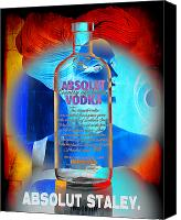 Impressionism Art Mixed Media Canvas Prints - Absolut Psychedelic Canvas Print by Chuck Staley