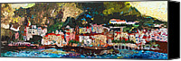 Impressionist Mixed Media Canvas Prints - Abstract Amalfi Coast Panoramic Painting Canvas Print by Ginette Callaway