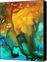 Turquoise And Rust Canvas Prints - Abstract Art Colorful Turquoise Rust RIVER OF RUST III by MADART Canvas Print by Megan Duncanson