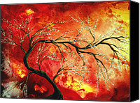 Home Decor Canvas Prints - Abstract Art Floral Tree Landscape Painting FRESH BLOSSOMS by MADART Canvas Print by Megan Duncanson