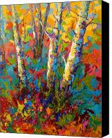 Leaves Painting Canvas Prints - Abstract Autumn II Canvas Print by Marion Rose