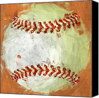 Sports Digital Art Canvas Prints - Abstract Baseball Canvas Print by David G Paul
