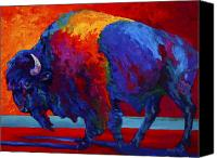 Bison Canvas Prints - Abstract Bison Canvas Print by Marion Rose