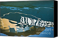 Water Canvas Prints - Abstract Boat Reflection Canvas Print by Dave Gordon
