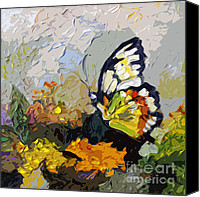 Insects Painting Canvas Prints - Abstract Butterfly on Lantana Canvas Print by Ginette Fine Art LLC Ginette Callaway
