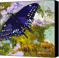 Insects Mixed Media Canvas Prints - Abstract Butterfly Painting Black Swallowtail Canvas Print by Ginette Callaway