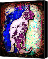 Animals Canvas Prints - Abstract Cat Canvas Print by David G Paul