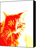 Manipulated Photo Canvas Prints - Abstract Cat Red and Yellow Canvas Print by Ann Powell