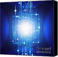 Screen Canvas Prints - Abstract Circuit Board Lighting Effect  Canvas Print by Setsiri Silapasuwanchai