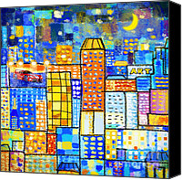 Building Digital Art Canvas Prints - Abstract City Canvas Print by Setsiri Silapasuwanchai