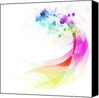 Dust Digital Art Canvas Prints - Abstract colorful curved Canvas Print by Setsiri Silapasuwanchai