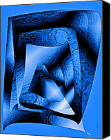 Colorful Digital Art Special Promotions - Abstract Design in Blue Contrast Canvas Print by Mario  Perez