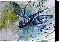 Dragonfly Art Canvas Prints - Abstract Dragonfly 10 Canvas Print by J Vincent Scarpace