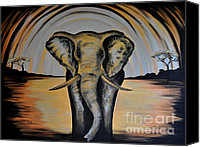 Elephant Running Canvas Prints - Abstract Elephant Canvas Print by Preethi Mathi