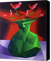 Cubism  Canvas Prints - Abstract Flower Vase Prism Acrylic Painting Canvas Print by Mark Webster
