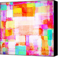 Greeting Card Pastels Canvas Prints - Abstract Geometric Colorful Pattern Canvas Print by Setsiri Silapasuwanchai